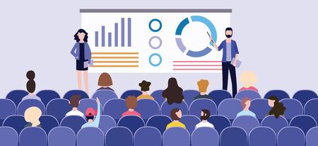 Prezentacja biznesowa z wykresami na tablicy przed publicznością na konferencji. Prelegenci prowadzą prezentację lub seminarium firmowe. Płaskie ilustracji wektorowych grupy i odbiorców. Ilustracje wektorowe