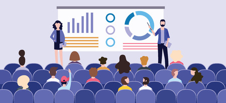 Business presentation with charts on the board in front of the audience at the conference. Speakers hold a presentation or corporate seminar. Vector flat illustration of a group and an audience.
