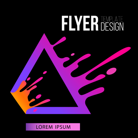 Flyer template with liquid purple triangle frame splashing in motion flat style, vector illustration isolated on black background. Cover design with purple trigon border with fluid splattering drops