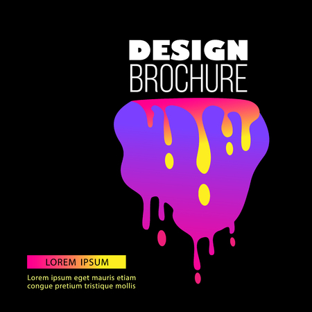 Brochure cover template with beautiful dynamic stylish neon splash on the black background vector illustration. Neon spot with liquid edges and smudges design element. Illusztráció