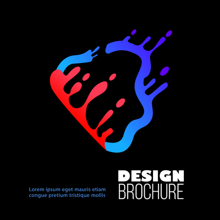 Brochure, poster and flyer design with splash and liquid flat blue and red shape on black background, vector illustration.