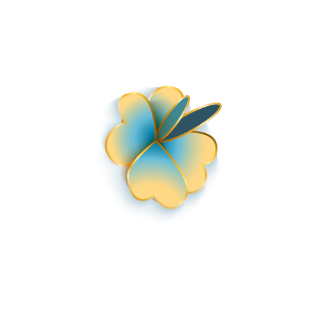 Blue flower with leaves in Chinese paper cut style with golden foil strokes vector illustration isolated on white background. Blossom element for oriental or asian design.