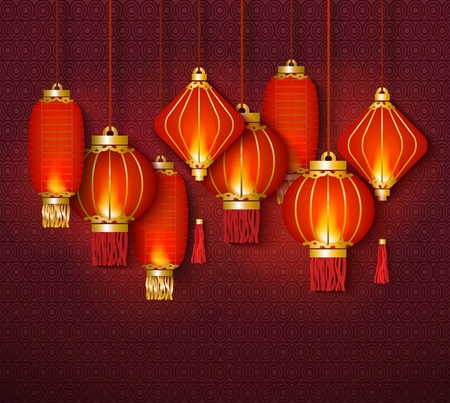 Red chinese traditional lanterns glowing in the night flat vector illustration on decorative background. Element of asian culture for New Year celebration and festivals.