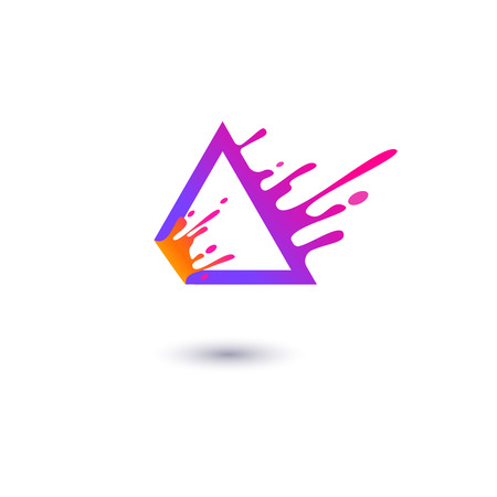 Purple triangle frame with fluid contour splashing in motion flat style, vector illustration isolated on white background. Liquid trigon geometric shape with drops, abstract design element Illustration