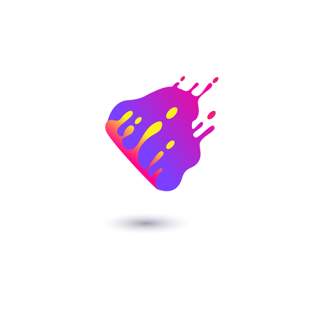 Fluid purple spot is splashing in motion flat style, vector illustration isolated on white background. Liquid filled cloud shaped form or stain or bolt with color drops, abstract design element
