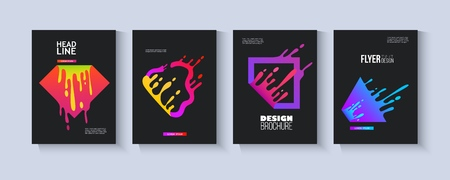 Template set with colorful fluid geometric shapes splashing in motion flat style, vector illustration isolated on black background. Flyer and brochure and banner design with splattering liquid shapes Illustration
