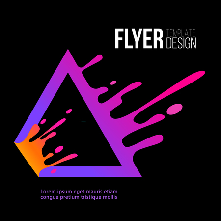 Flyer design template with stylish neon triangle  element splashes of color on the black background  illustration. Stock Vector - 124790766