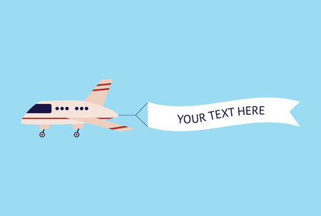 Airplane flying with text template banner, cartoon aircraft in air with advertising message sign, white ribbon flag behind flat plane - cute vector illustration isolated on blue background Vettoriali