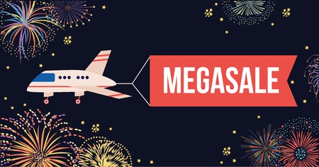 Airplane with red banner flying in air in night sky with fireworks. Cartoon plane with sign announcing sale or megasale with message on a flag ribbon, marketing banner design, flat vector illustration Illustration