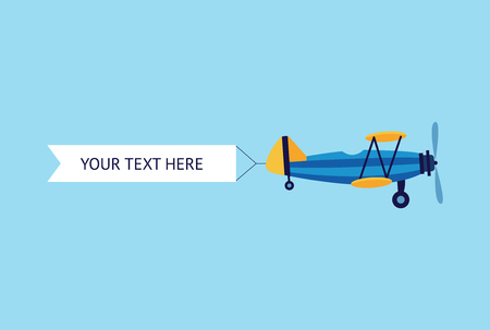 Retro plane or biplane flying with the ribbon advertising or promo banner flat vector illustration isolated on blue background. Aviation design for web banners and posters.