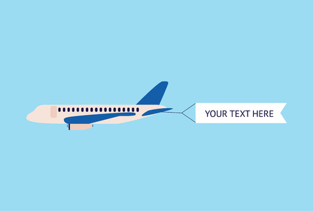 Modern airplane or plane pulling blank advertising banner flat vector illustration isolated on sky blue background. Aircraft template for promotion and marketing.