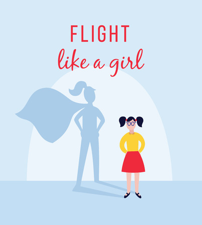 Girl or confident young woman with super girl shadow and motivation inscription flat vector illustration. Success and female power and strength design banner or template.