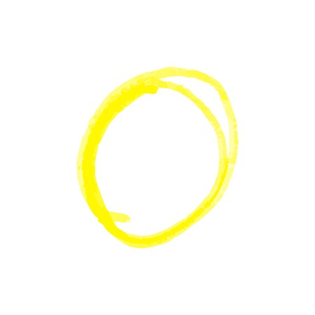 Hand drawn circle to highlight something of yellow crayon or paint markers strokes realistic vector illustration isolated on white background. Doodles sketch style.