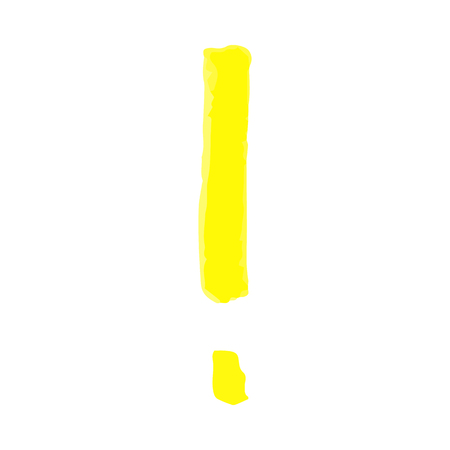 Hand written exclamation mark with a yellow marker or highlighter, brush or pen. Vector texture and sketch illustration of exclamation punctuation mark isolated on white background.
