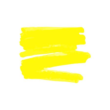 Żółty kleks lub znak z markera lub zakreślacza, pisaka lub pędzla. Ilustracja wektorowa na białym tle w stylu rysowania ręki szkicu z żółtym markerem.