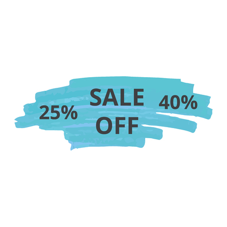 Text sale off on blue stroke of a marker or brush, ink texture or pen, isolated hand drawn vector illustration.