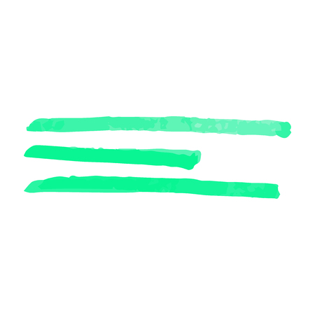 Hand written three absract green stripes from marker or highlighter, pen or brush, isolated vector illustration on white background.
