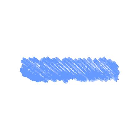 Blauer Farbmarker kritzeln Fleck oder Linie realistische Art, Vektorillustration lokalisiert auf weißem Hintergrund. Handgezeichneter Textmarkerstrich oder Filzstiftspur