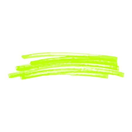 Grüne Markierungsstrichkritzel lokalisiert auf weißem Hintergrund. Abstrakte Linienform von Hand gezeichnet von hellem Textmarker, einzelne Filzstift-Texturzeichnung - Vektorillustration