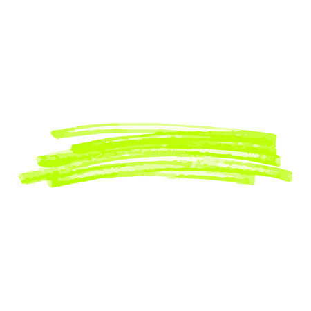 Green marker stroke scribble isolated on white background. Abstract line shape hand drawn by bright highlighter pen, single felt tip texture drawing - vector illustration