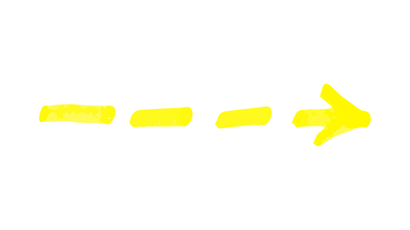 Dashed arrow hand drawn with yellow permanent marker, direction line symbol drawing in highlighter sketch style, doodle element isolated on white background - vector illustration Ilustração