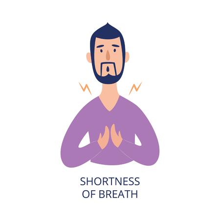 숨가쁨이 있는 가슴을 안고 있는 남자 플랫 만화 스타일, 흰색 배경에 격리된 벡터 일러스트레이션. 천식이나 심장마비 또는 알레르기 증상으로 건강 문제가 있는 남성 벡터 (일러스트)