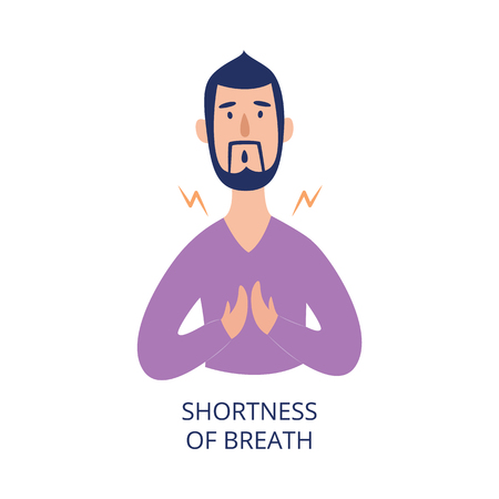 Man holding his chest having shortness of breath flat cartoon style, vector illustration isolated on white background. Male person with health problem as asthmatic or heart attack or allergy symptom Illustration