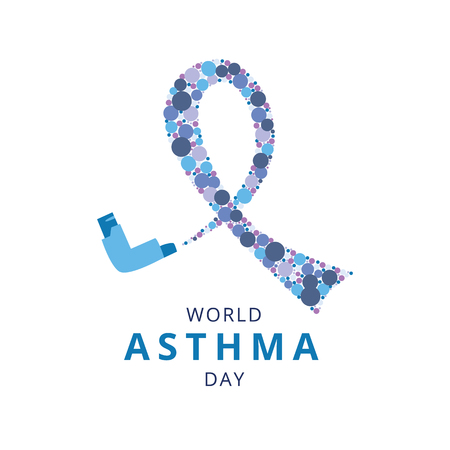 World Asthma Day concept with spray inhaler and symbol loop flat style, vector illustration isolated on white background. Poster or banner design with bronchial illness awareness ribbon sign Stock Illustratie