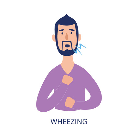 Man holding his chest and wheezing flat cartoon style, vector illustration isolated on white background. Male person with respiratory disease symptom as asthma or allergy or cold