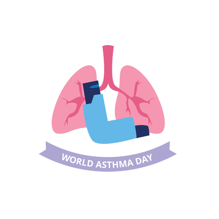 World Asthma Day concept with spray inhaler and human lungs flat style, vector illustration isolated on white background. Poster or banner design of bronchial disease awareness day