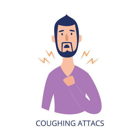 Man holding his chest having coughing attack flat cartoon style, vector illustration isolated on white background. Male person with respiratory disease symptom as asthma or allergy or cold Illustration