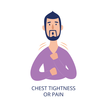 Man holding his chest having pain or tightness in it flat cartoon style, vector illustration isolated on white background. Male person with health problem as asthmatic or heart attack disease