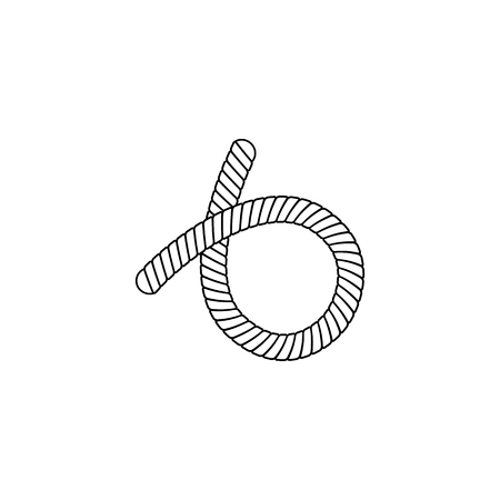 Nautical rope loop or knot drawn in thin line sketch style vector icon illustration isolated on white background. Marine cord curved border or frame element design.