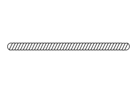 Black and white rope border isolated on white background, simple straight twisted cord shape with rounded edges for marine frame design, vector illustration