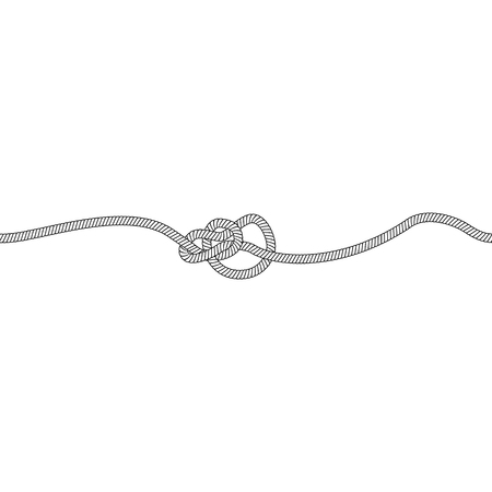 Bowline knot or loop of marine and nautical rope, cord or cable. Isolated vector illustration on white background.