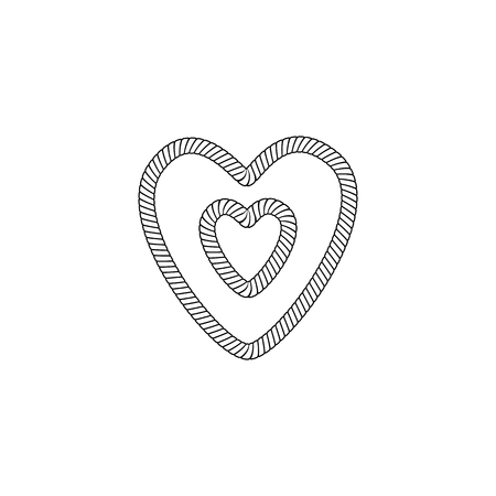 The form and shape of the heart out of the loop and rope knot, rope or cable. The object and the heart icon from the knot of marine rope and twine. Isolated vector illustration on white background. Stock Illustratie