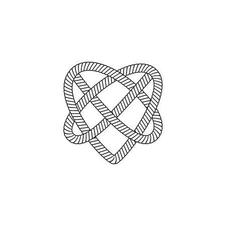 Nautical rope loop or knot twisted in the heart shape and drawn in thin line sketch style vector icon illustration isolated on white background. Marine cord design element.