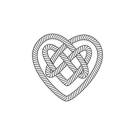 La forme et la forme du cœur sortent de la boucle et du nœud de corde, de cordon ou de câble avec l'ornement celtique à l'intérieur. Illustration vectorielle isolé sur fond blanc.