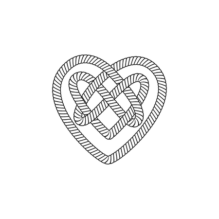 The form and shape of the heart out of the loop and rope knot, cord or cable with the Celtic ornament inside. Isolated vector illustration on white background. Vettoriali