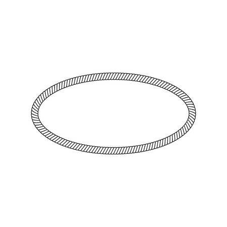 Oval and round frame or border of rope, cord or cable. Round loop of rope and cord. Isolated vector illustration on white background. Illustration