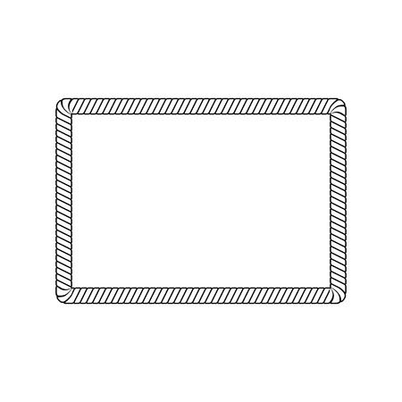 Cornice di corda rettangolare con angoli arrotondati in stile schizzo di contorno, illustrazione vettoriale isolato su sfondo bianco. Bordo rettangolo vuoto da corda marina o cavo nautico Vettoriali