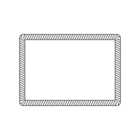 Rectangle rope frame with rounded corners in outline sketch style, vector illustration isolated on white background. Blank rectangle border from marine cord string or nautical cable