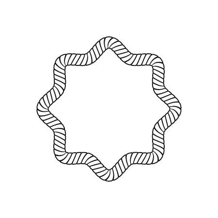 Star-shaped rope frame with rounded corners in outline sketch style, vector illustration isolated on white background. Blank star polygon border from marine cord or nautical cable