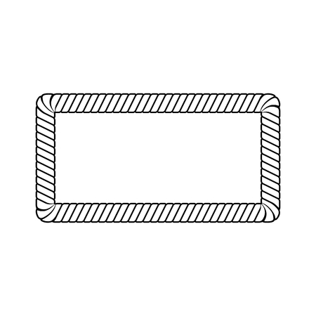 Black and white rope line border, marine cord curved rectangle frame with twisted texture. Blank colorless shape for nautical design, isolated vector illustration on white background. Stock Vector - 128170549