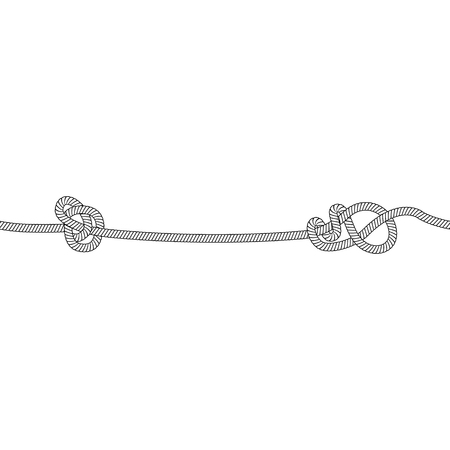 Seamless rope line with two marine knots, black and white nautical cord with twisted loop design on each side, hand drawn string cable vector illustration isolated on white background
