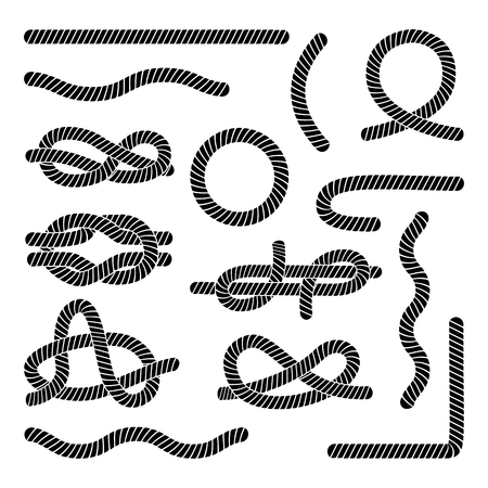 Set of different black rope elements and knots flat style, vector illustration isolated on white background. Collection of marine knots and wavy or straight cord string and round frame and loop Illustration