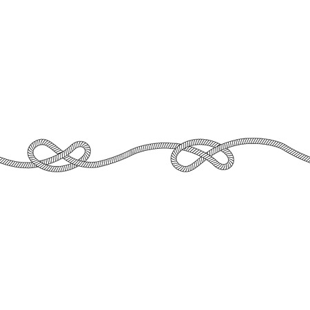 Seamless pattern of one horizontal rope with overhand knot outline sketch style, vector illustration isolated on white background. Marine or climbing knotted cord string horizontal divider