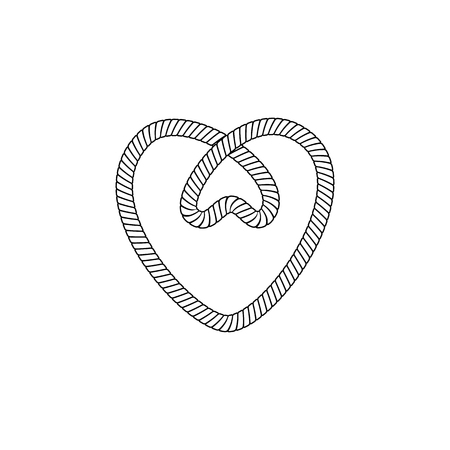 Marine rope loop or knot in heart shape black thin line icon, vector illustration isolated on white background. Cord or string knot the nautical design element.