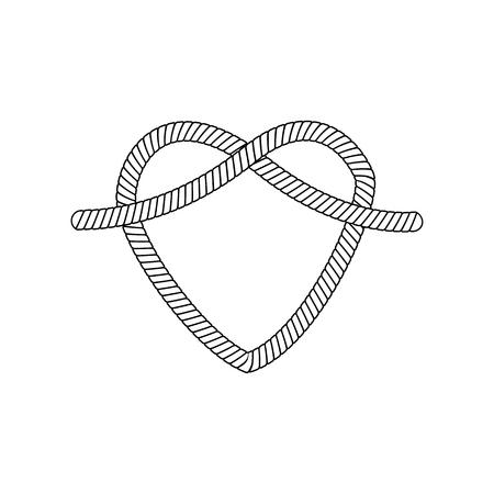 La forme et la forme du cœur hors de la boucle et du nœud de corde, d'un cordon ou d'un câble, illustration vectorielle isolée.