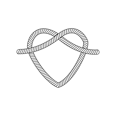 The form and shape of the heart out of the loop and rope knot, cord or cable, isolated vector illustration.